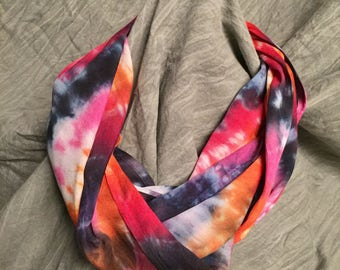 Light Infinity Scarf , Pink Orange Black, Rayon Scarf , Tie Dyed Circle Scarf, Bright Scarves , Spring Accessory , womens loop scarf , SC120
