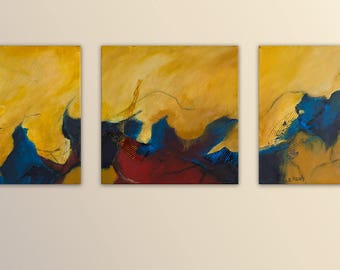 Original abstract acrylic paintings on canvas, 3 wallpapers, 30 cm x 30 cm, ochre, yellow, blue, Red