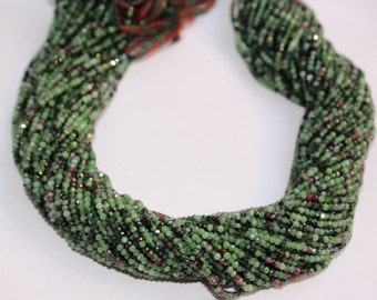 Natural Gemstone Ruby Zoisite Micro Faceted Rondelle Beads Full 13 inch Strand-AAA+ Quality 2.0 to 4.0 mm
