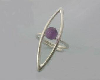 rose amethyst ring - amethyst silver ring - sterling silver ring - statement ring- February Birthstone -adjustable ring- dainty-gift for her