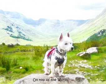 West Highland White Terrier Westie Dog Art Print Digital Art Pet Portrait Dog Wall Art