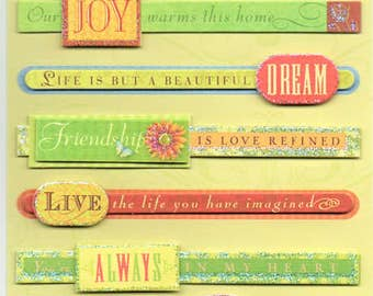 Happy Thoughts Quotes Tags K&Company 3D Scrapbook Stickers Embellishments Cardmaking Crafts
