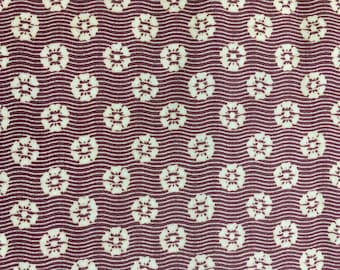 Quilting Cotton Riley Blake Design.  Reproduction-style fabric, burgundy and beige.  1 yd available.