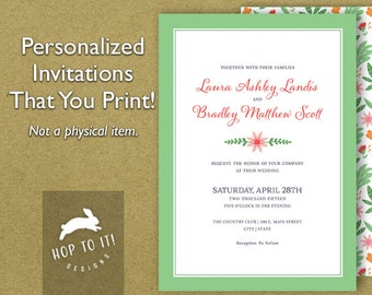 Floral Wedding Invitation Suite 2  (with RSVP, Reception & Thank You Card) - Digital File - You Print