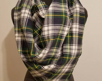 Navy, Green and White Plaid Blanket Scarf