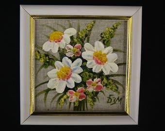 Original oil painting on canvas, 10x10cm, palette knife painting. Floral oil painting from Russia.