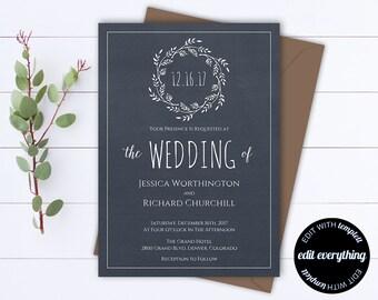 Navy Blue Wedding Invitation Template - Instant Download Printable Invitation - Wreath Invitation Wedding Template - DIY Wedding Template