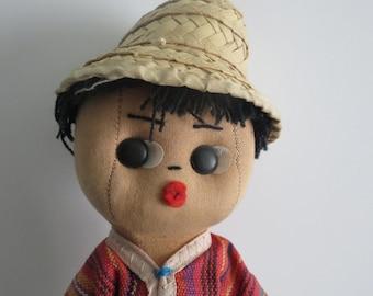 Vintage Boy Rag Doll/Rare Rag Doll/1940s doll/Farmer Boy Rag Doll/Collectible rag dolls/Vintage rag doll