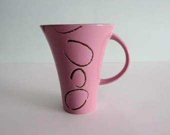Flirt by R&B Pink and Brown Coffee Mug w/Brown Design Cuts Unique Coffee Mug