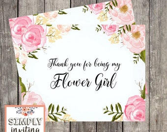 Flower Girl Bridal Party Thank You Card, Printed Note Card, Bridesmaid, Maid of Honor, Floral Watercolor, Matron of Honor, Wedding Party