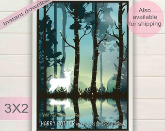 Harry Potter & Prisoner of Azkaban movie book digital poster | Forbidden forest printable art | Expecto Patronum film instant download print
