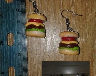 Polymer Clay Hamburger Earrings Chef Gift