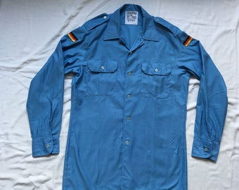 Vintage German blue military uniform shirt-Bundeswehr-navy marine