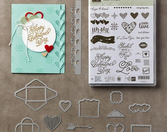 Stampin' Up! SEALED WITH LOVE Stamp Set, and Love Notes Framelits Dies, Bundle,