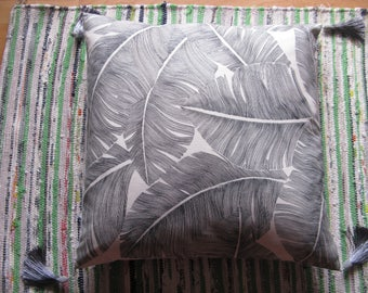 "Exotic ""Palm"" gray and white cushion off, 48 x 48, sale at-40%"