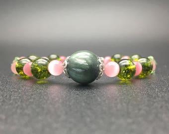 Seraphinite,Cherry pink Cats eye,SAKURAPinkCats eye,Peridot,Peridot Butterfly,Cute bracelet,