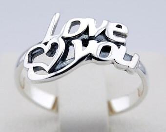Love you 925 Silver ring adore fancy sweet amo fond enamored heart crush feeling romantic