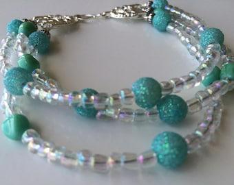 Turquoise Beaded Bracelet/ Seed Bead Bracelet