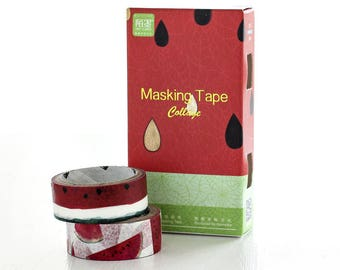 2-IN-1 Water Melon Japanese Washi Tape, Masking Tape, Planner Stickers,Crafting Supplies,Scraping Booking,Adhesive Tape,Floral Washi Tape