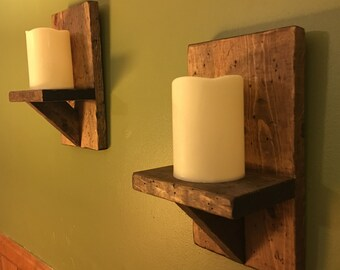 Rustic Wood Sconces, Rustic Candle Holders, Rustic Home Decor, Housewarming Gift