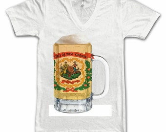 Ladies West Virginia State Flag Beer Mug Tee, Home State Tee, State Pride, State Flag, Beer Tee, Beer T-Shirt, Beer Thinkers, Beer Lovers T
