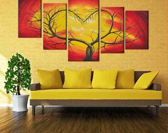 Love Heart Tree - split framed canvas print