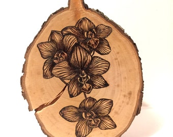 """Orchids on Pear Wood - 6""""x5"""" pyrography wood burning"""