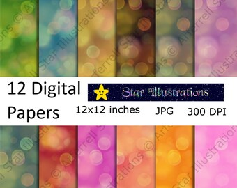 Bokeh Digital Paper, Scrapbook Paper, Background Designs, Instant Download Commercial Use - DP002