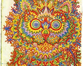 Louis Wain Psychedelic Cat Painting Albert Hoffman 8x10 Real Canvas Art Print