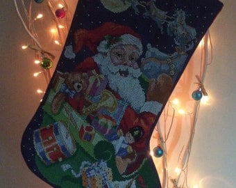"""Hand Stitched Christmas Stocking """"Up, Up and Away"""""""