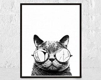 Black and White Cat Print Cat Art Illustration Cat Lover Gift Black and White Minimalist Home Decor nursery animal wall art Unframed