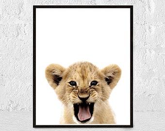 Baby Lion Poster, Lion Print, Baby Lion Printable, Wildlife Printable, Lion Wall Art, Lion Cub Print, Lion Wall Printable, safari animal