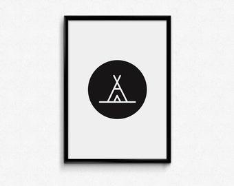 Camping / digital print / motivational / inspiration / artwork / printable art / wall art / modern / minimalist / decoration