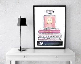 Chanel Perfume Watercolour, gold, Coco Chanel, no 5, Fashion Books, Watercolor, Fashion Illustration, couture lipstick, mademoiselle