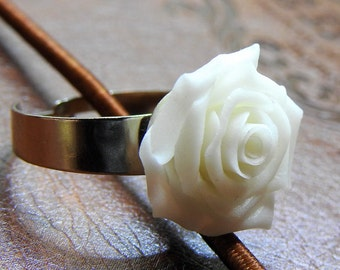 Polymer Clay Jewelry - White Rose Ring