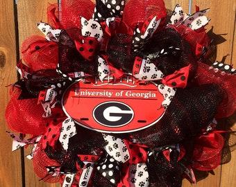 UGa Wreath, University of georgia football wreath, Bulldogs Wreath, GA Wreath,  GA Bulldogs, Football Door Wreath, Go Dawgs, Football Wreath