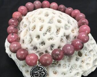 Genuine 8mm Smooth Rhodonite Gemstone Crystal Elastic Stretchy Bracelet Om