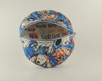 Embroidered Zippered Dog Coin purse bag, round, reverse inside print, all-breed canine pooch beagle