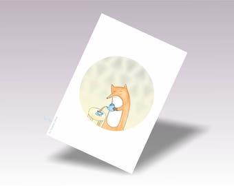 Baby Fox Print Decor, Fox Baby Print Art, Printable Baby Fox Watercolor Print, Digital Download