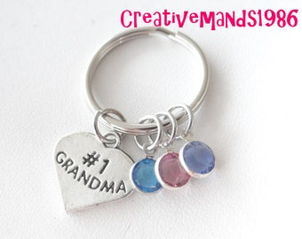 Number 1 Grandma Keychain, Gift for Grandma, Gift for Mom, Mothers Day