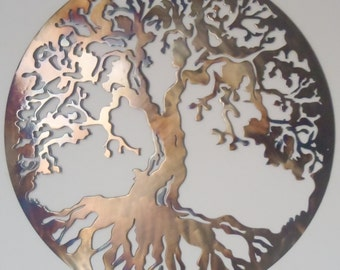 "Tree Of Life, Metal Art - HEAT COLORED, 40"" (100 cm)"