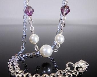 Purple Bridesmaid Gift, Purple Swarovski Crystal Necklace, Bridesmaid Necklace, Bridesmaid Necklace Gift, Lilac Crystal Necklace