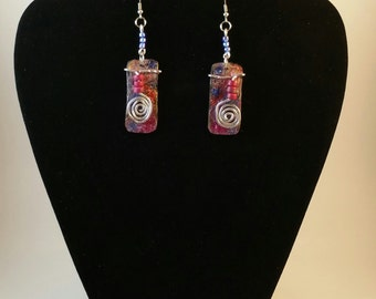 painted swirl dangle earrings