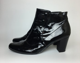 GNW Black Patent Leather Booties