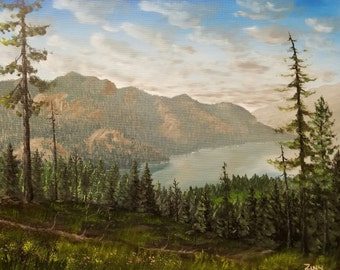 "Forest Mountain Lake View Original Oil Mountain Forest Lake Landscape Painting Wall Art Decor on Canvas size 16""x20"""