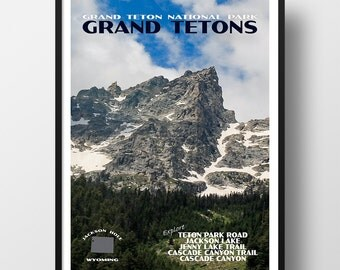 Grand Teton Poster, Grand Teton print, Grand Teton national park, national park poster, Grand Tetons, travel poster, national park print