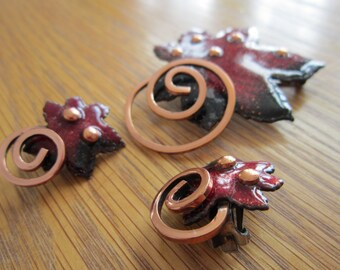 Matisse Renoir 1950s Red Enamel on Copper Leaf Brooch & Earrings