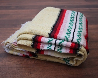 Striped Mexican Blanket // Vintage Yellow Southwestern Blanket Fringe Tribal Aztec Throw Rug Saltillo