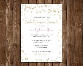 Elegant Bridal Shower Brunch Invitation - DIY Printable PDF Download