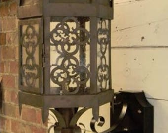 Copper Lantern Pendant Light Fixture Rustic Outdoor Vintage Antique Gothic Medieval Gas Or